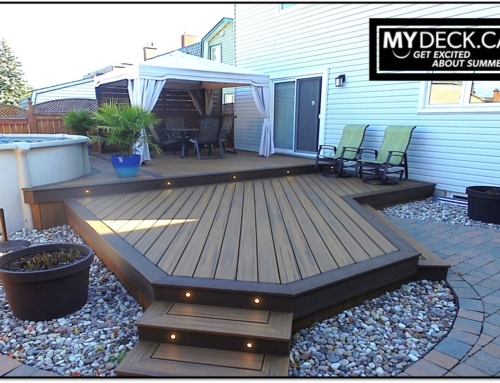 Multi-Tier Trex Composite Pool Deck in Orleans, Ontario
